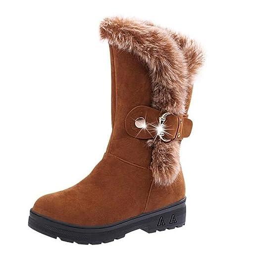 Women's Winter Warm Snow Boots Thicken Fur Scrub Suede Shoes Fleeced Flats Botas (Brown US 6)