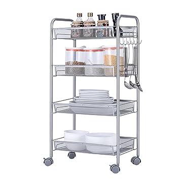 4 Tier Slide out Kitchen Trolley Rack Organizador de Almacenamiento Mueble de Pared Gabinetes Tower Holder Estante de baño con Ruedas Carros de Servicio: ...
