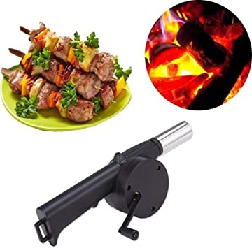 Kochen im Freien BBQ Fan Air Geblaese fuer Barbecue Feuer Bellows Hand Cran C1P4