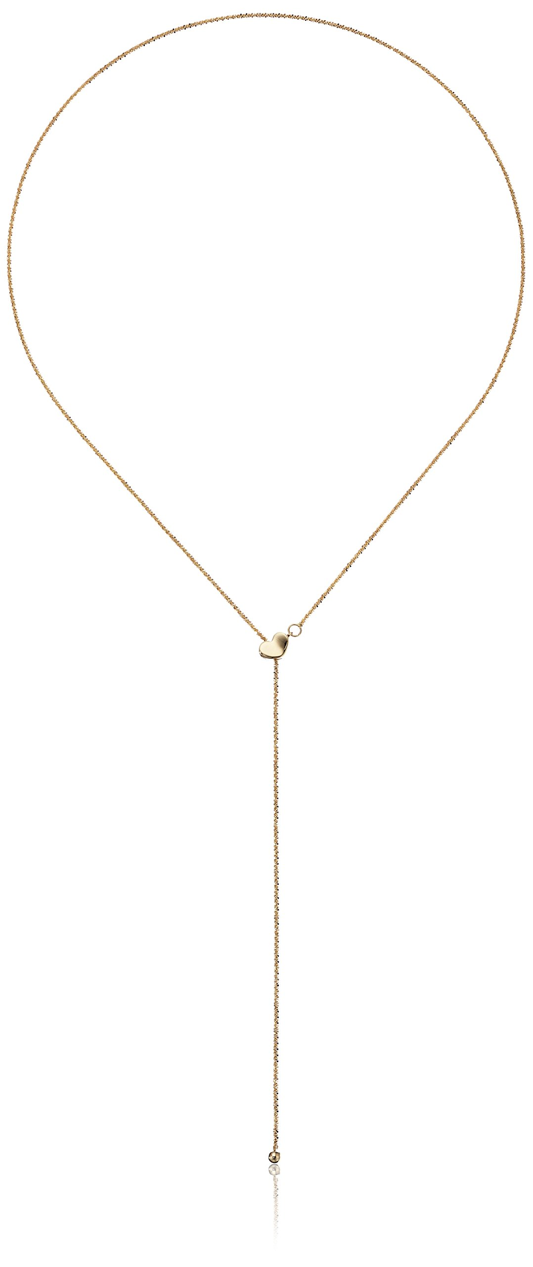 14k Yellow Gold Adjustable Heart Lariat Sparkle Chain Y-Shaped Necklace, 22''