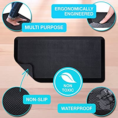 "Premium Anti Fatigue Mat, 20"" x 39"" x 3/4"", Non-Toxic, Perfect for Standup, Standing Desk, Kitchen Floor and Garage, Commercial Grade, Extra Comfortable (Black)"