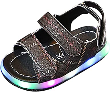 Children Girls Boys Kids Leather Soft Sole Shoes LED Light Up Flashing Sandals