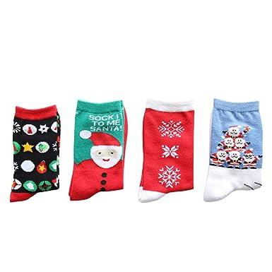 FENICAL 4 Pares Calcetines de Navidad Unisex Santa Claus Algodón Adulto Medio Tubo Primavera Otoño Invierno Vistiendo Calcetines de Dibujos Animados ...
