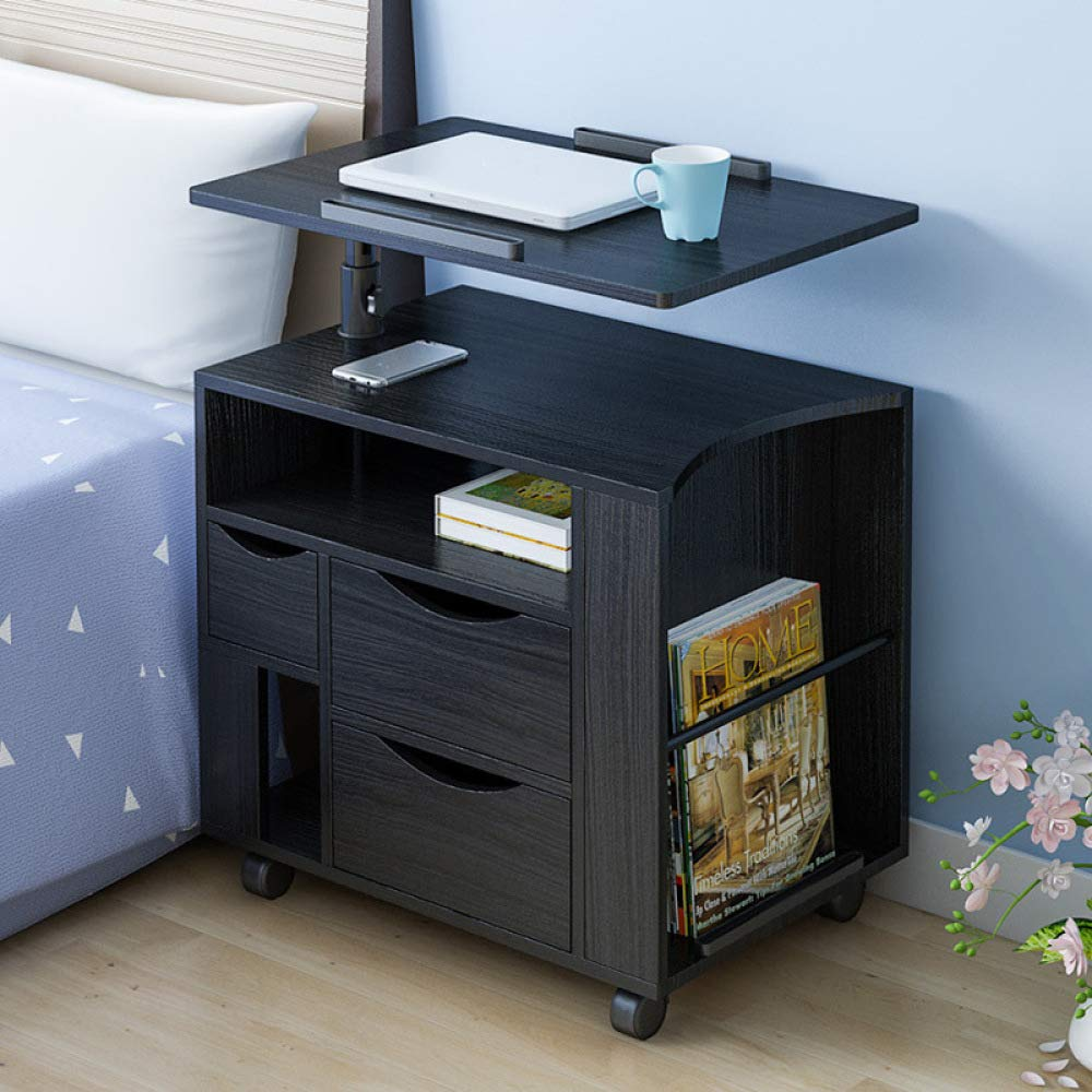 LIULIFE Mobile Computer Desk with Multi-Tier Storage Bedside Table Home Sofa Writing Desk, Two-Way Pull-Out Drawers,Black by LIULIFE (Image #8)