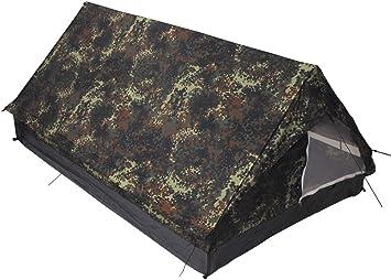 MFH Minipack BW - Tienda de campaña para 2 Personas Militar (mosquitera integrada) Multicolor Flecktarn: Amazon.es: Deportes y aire libre