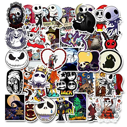 Nightmare Before Christmas Stickers| 50 PCS | Vinyl Waterproof Stickers for Laptop,Skateboard,Water Bottles,Computer,Phone, Halloween Theme,(Halloween-50PCS)