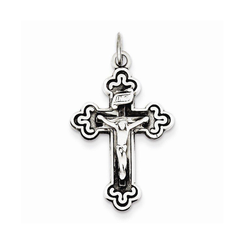 Box Sterling Silver Antiqued Inri Crucifix Pendant