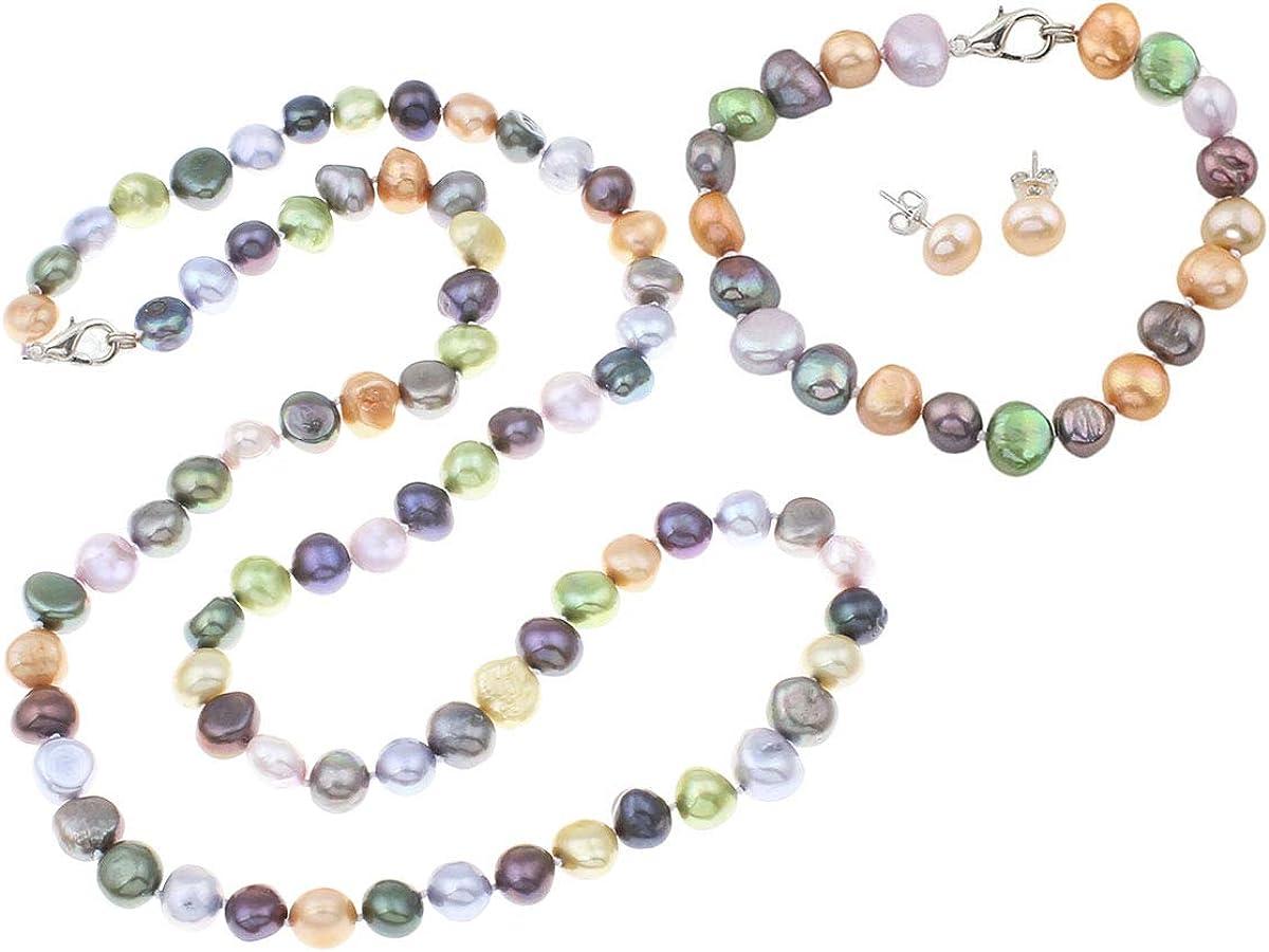 Treasurebay - Juego de collar y pulsera de perlas de agua dulce irregular multicolor
