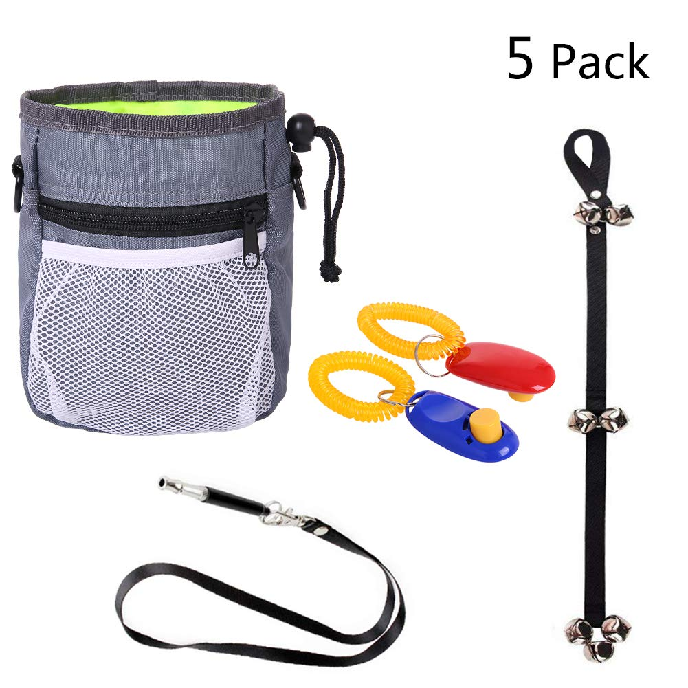 Horhin 6PCS Dog Training Assortments Interactive Kits Retail Package, Dog Pouch Feed Treat Bag+Dog Doorbell+Dog Whistles+Dog Clickers, Luxury Suit for Beginners to Advancers