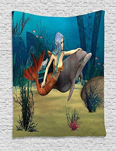 supersoft-fleece-throw-blanket-mermaid-fairy-marine-cute-mermaid-girl-and-dolphin-fish-swimming-unde