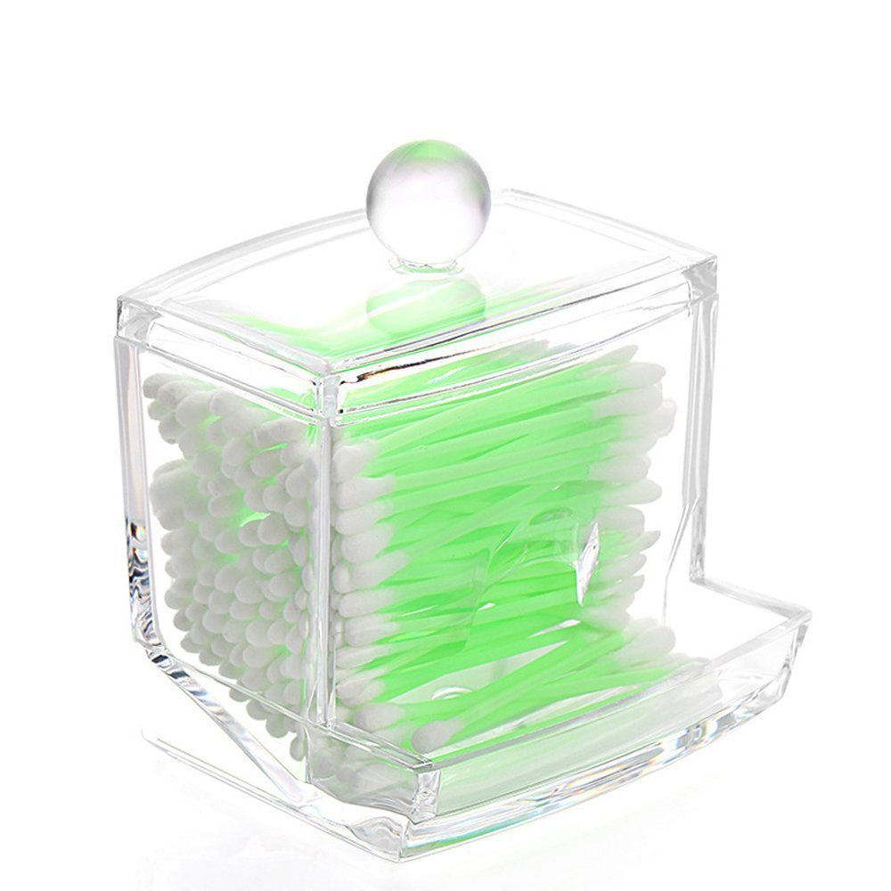 CAMMITEVER Hotel Supplies Crystal Acrylic Storage box Cotton Swab & Toothpick Box Case Covere Creative Storage Makeup Case
