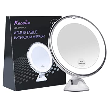 KEDSUM 6 8 quot  10x Magnifying LED Lighted Makeup Mirror Bathroom Vanity  Mirror with Strong Suction. Amazon com   KEDSUM 6 8  10x Magnifying LED Lighted Makeup Mirror