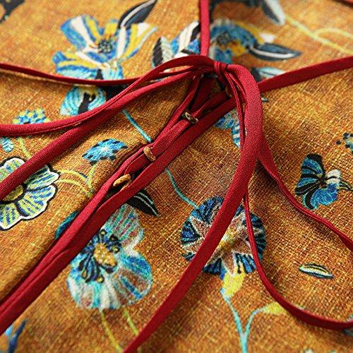 Impresión Color Verano Y En Primavera Color La De Collar De De Floja ZHUDJ Vestido V Seda Seda El Ia6E1Eqgw