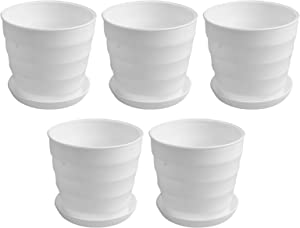 7.5 Inches Large Plastic Flower Pots with 5 Flower Pots Inside, Decorative Garden Flower Pots Plants Pots Garden pots with Drainage and Saucer for All House Plants Succulents(One Size, 5 Packs)