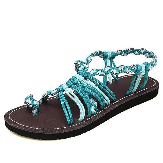 Darringls_Sandalias de Primavera Verano Mujer,Chanclas de Mujeres Sandalias de Playa Zapatos de Verano Correa Tejida Moda Zapatos de Playa Zapatillas Cómodo ...