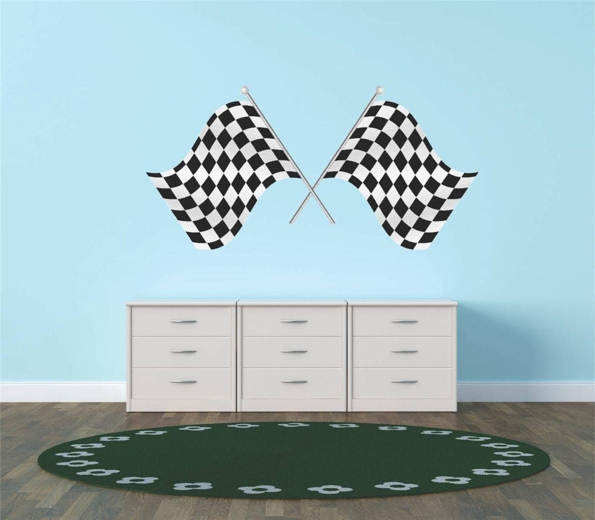 Checkered Flag Race Car Speedway Track Boy Girl Children Kid Living Room Bedroom Kitchen Home Decor Picture Art Image Peel & Stick Graphic Mural Design Decoration - Size : 12 Inches X 24 Inches