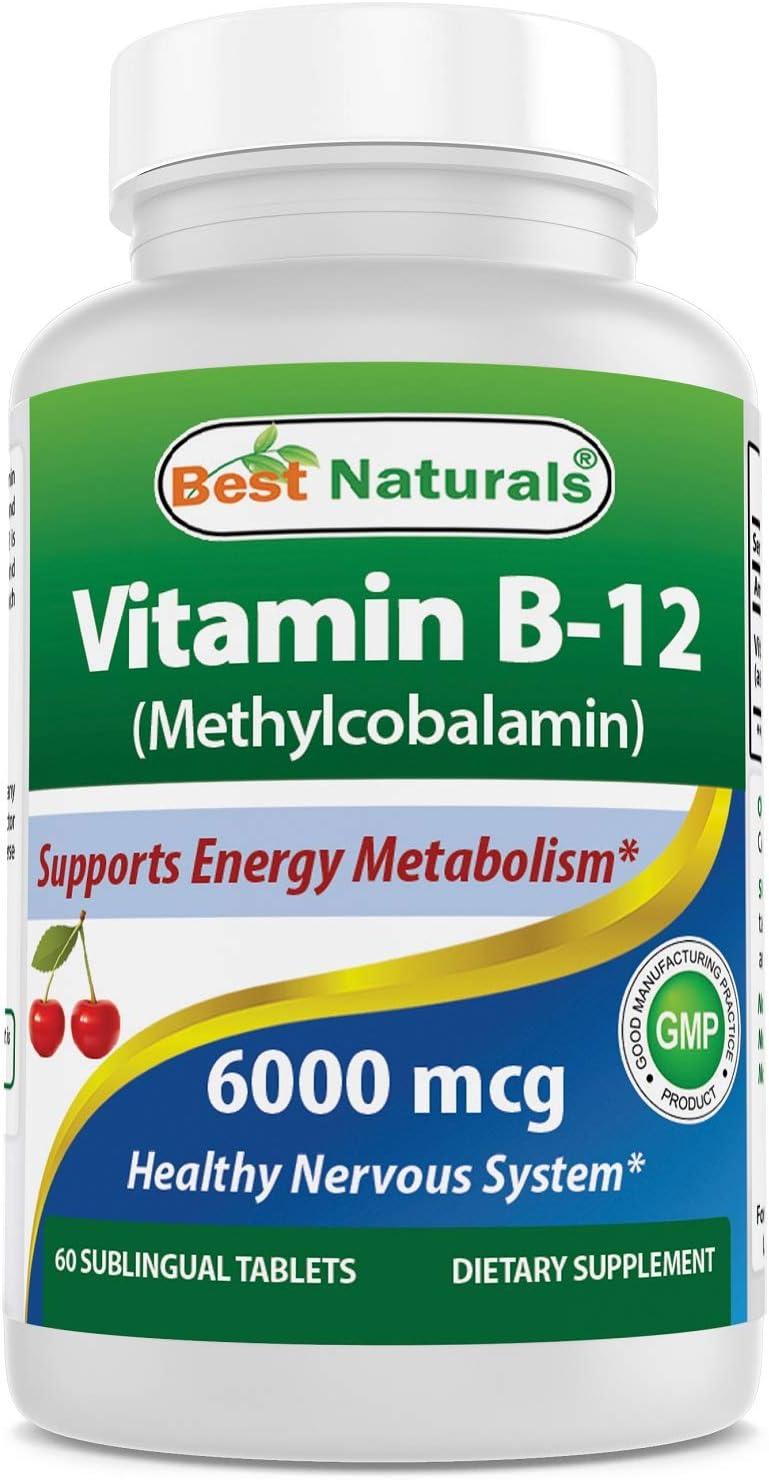 Best Naturals Vitamin B-12 as Methylcobalamin Methyl B12 , 6000 mcg Tablet, 60 Count