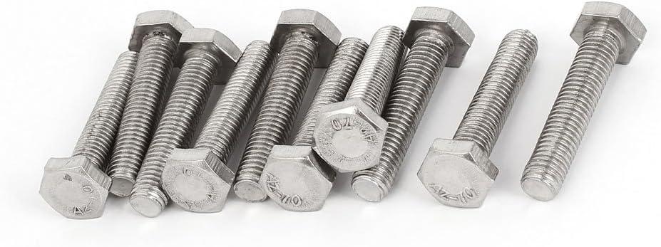 uxcell M10 x 50mm 1.5mm Pitch Stainless Steel Hex Hexagon Screws Bolts DIN 933 10PCS