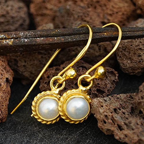Sterling Silver Handmade Pearl Earrings W/Hook 24k Yellow Gold Vermeil Omer (Vermeil Hook Silver Pearl Earrings)