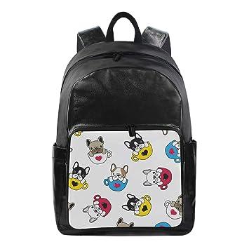 3040ae2a98b5 Amazon.com: Mr.Brilliant Cute Bulldog French Canvas Backpack School ...