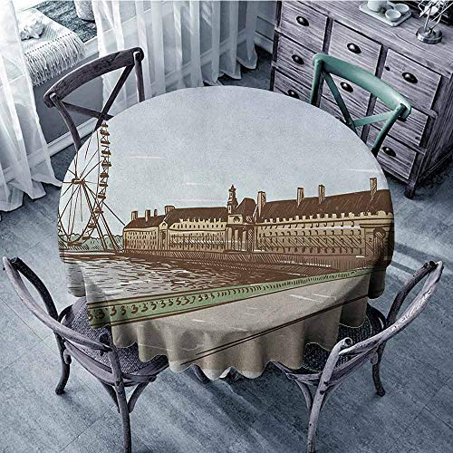 ScottDecor Garden Round Tablecloth Christmas Tablecloth London,Buckingham Palace Historical Building Thames River Ferris Wheel Pencil Drawing Art, Multicolor Diameter 54