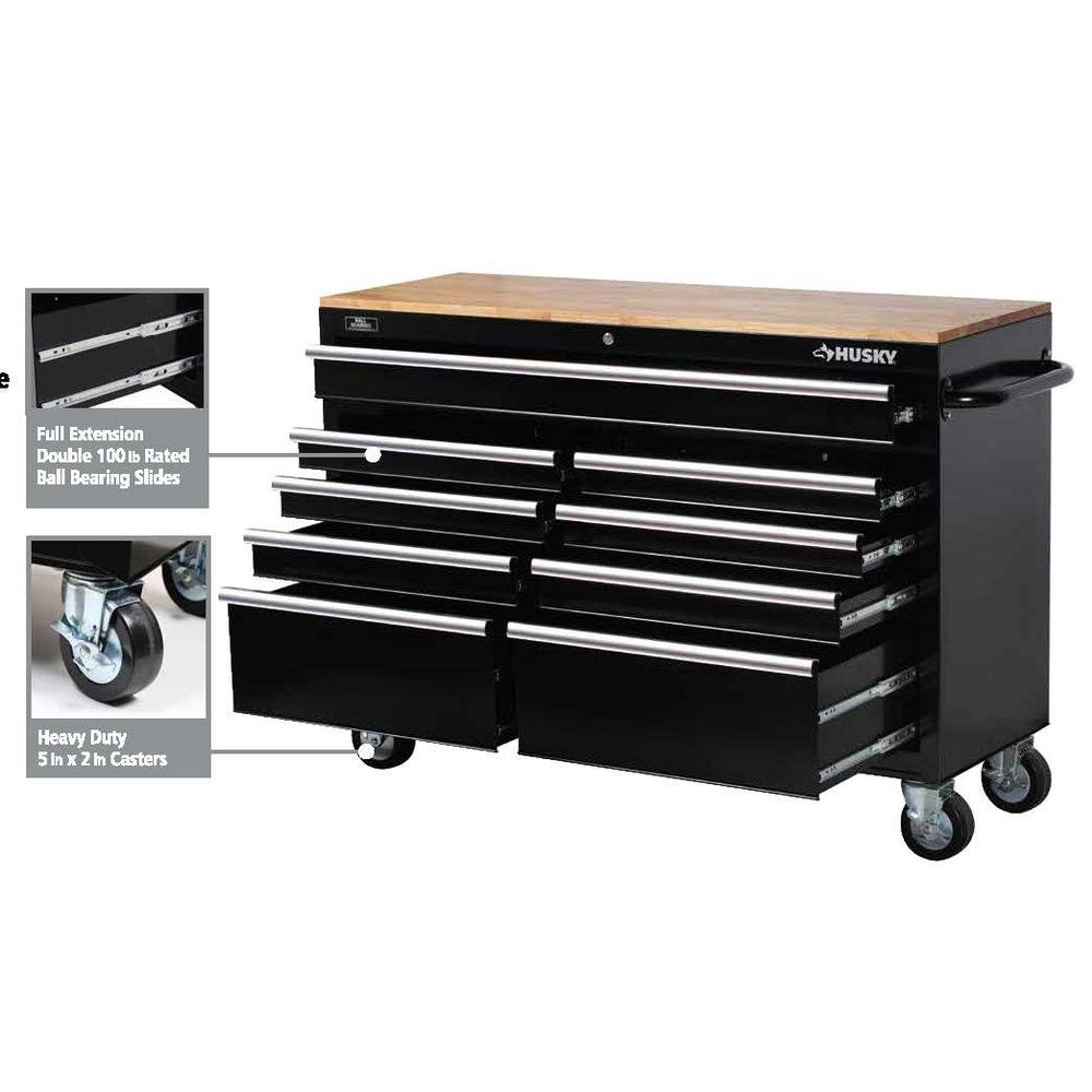 Husky 46 in. 9-Drawer Mobile Workbench with Solid Wood Top, Black by Husky (Image #6)
