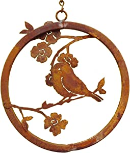 Elegant Garden Design, Chickadee on Dogwood Branch Ring, Yard Art Decor with Rustic Patina for Home and Patio