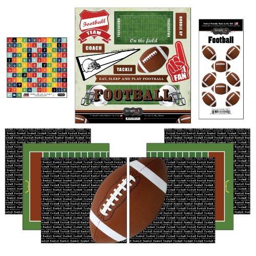Football Scrapbooking - Scrapbook Customs Go Big Football Themed Paper and Stickers Scrapbook Kit