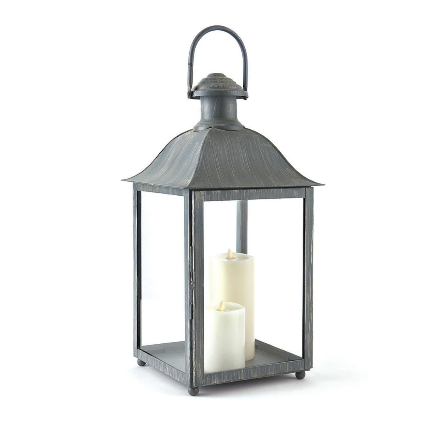 """23"""" Distressed Grey Classic Style Decorative Outdoor Candle Lantern"""