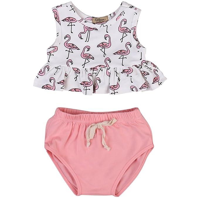 Amazon.com: One s bebé niñas Flamingo trajes niños volantes ...