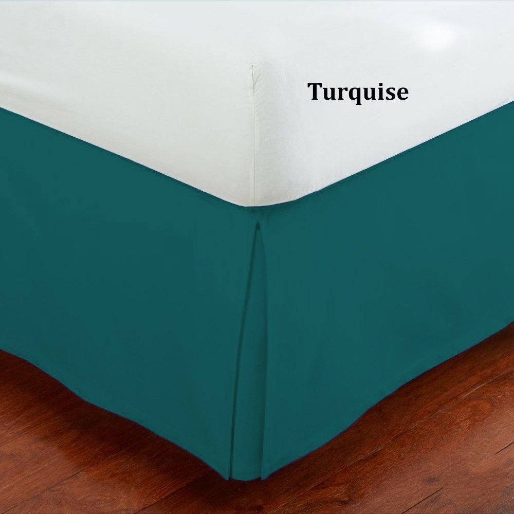 Fancy Collection Queen Size Easy Care Tailored Microfiber 14-inch Bed Skirt Solid Turquoise