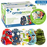 Kids Eye Patches - Fun Boys Design - 90 + 10 Bonus Latex Free Hypoallergenic Cotton Adhesive Bandages For Amblyopia and Cross Eye - 3 Reward Chart Posters - Optho-Patch by Defined Vision