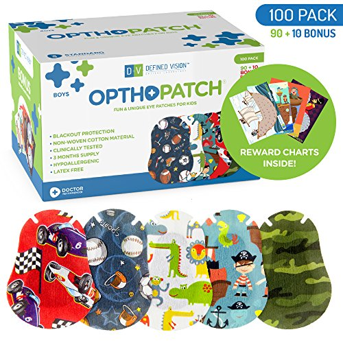 Kids Eye Patches - Fun Boys Design - 90 + 10 Bonus Latex Free Hypoallergenic Cotton Adhesive Bandages For Amblyopia and Cross Eye - 3 Reward Chart Posters - Optho-Patch by Defined Vision by Optho-Patch