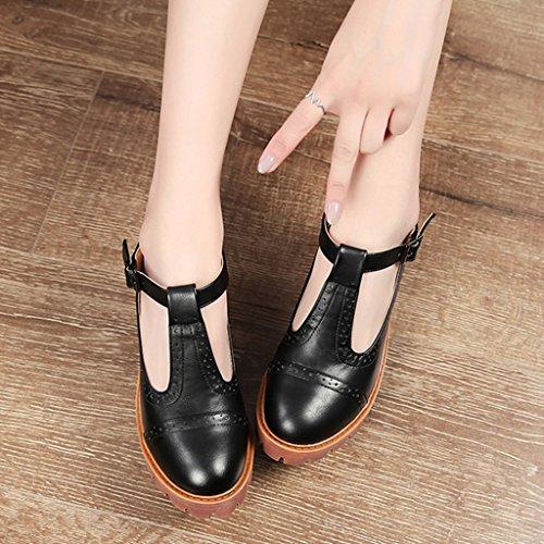 Stil Damenschuhe einzelne dicken weiblich Schwarz HWF Schuhe Farbe britischen Frühling hohen Absätzen Boden 36 Casual Student Damenschuhe mit größe 4qw0XIXt