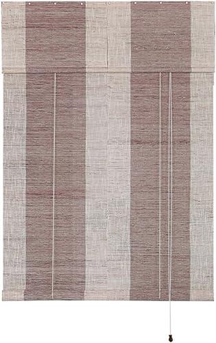 Liveinu Handmade 100 Ramie Linen Window Blinds Roller Shades Curtain Drape Stripe Pattern Brown 31″ x 82″