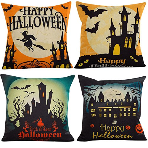 NKIPORU 4Pcs Happy Halloween Cotton Linen Pillow Cover Square Burlap Decorative Throw Pillowslip Cushion Cover with Bat Pumpkin Little Witch Element -