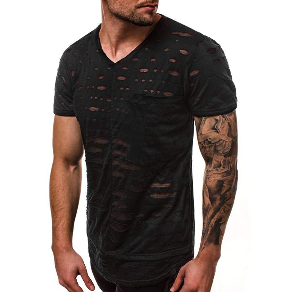 Casual Bsjmlxg Mens Summer Personality Pure Hole Short Sleeves Irregular Hem Tees Fashion Daily