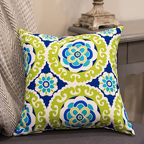 Halina Wasabi Floral Lime Green and Dark Blue Print 16 x 16 Indoor Outdoor Throw Pillow – Pack of 2