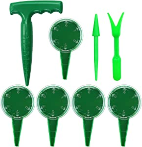 Amersumer 8 Pcs Seed Planter Dispenser Kit, Adjustable Sowing Seed Spreader Handheld for Lawn, Flower Plant Seed Sow Gardening Tool Sets, Seedling Dibber and Widger for Lawn, Garden