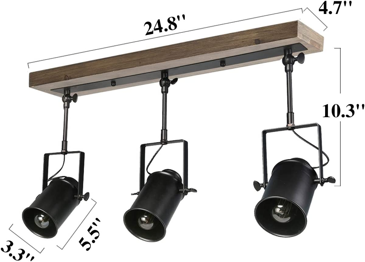lnc adjustable track lighting fixture farmhouse 3 heads ceiling spotlight for kitchen dining living room foyer and cloakroom wall wood black