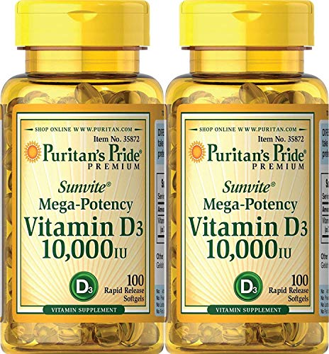 Puritans Pride Vitamin D3 10,000 IU, 100 Count (2 Pack)