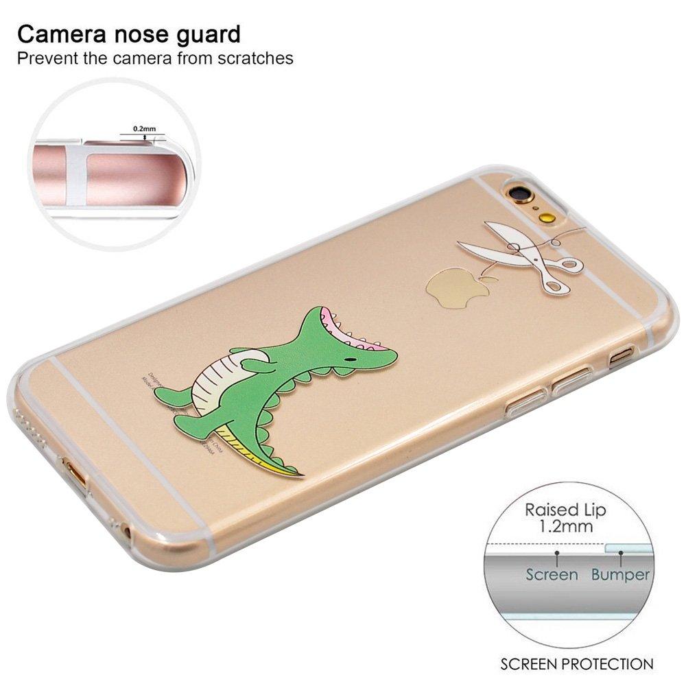 iPhone 7 Funda, iPhone 8 Funda, OFFLY Transparente Soft Suave Cáscara, Grueso Fortalecer Protección Case Cover, Creativa Patrón Shell para Apple ...