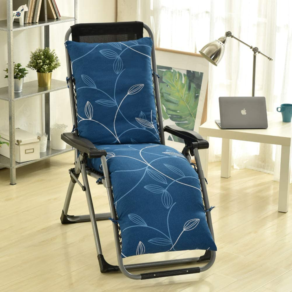 LOVEHOME Outdoor Indoor Lounge Chaise Cushion,Patio Recliner Chair Cushions,Sun Lounger Not-Slip with Ties for Garden Sofa Bench(Cushion Only)-Blue A 155x48x10cm(61x19x4inch)
