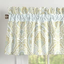 Carousel Designs Blue and Taupe Paisley Window Valance Rod Pocket