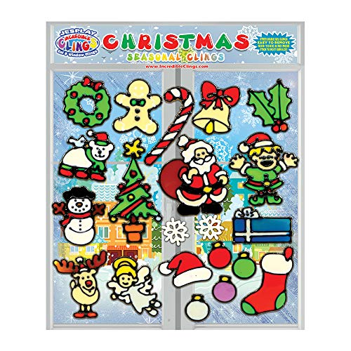 JesPlay Christmas Holiday Flexible Gel Clings - CPSC Tested Safe Xmas Window Clings for Kids and Adults -Removable and Reusable Gel Decals - Santa, Rudolph, Stocking, Candy Cane, Snowman and More! -