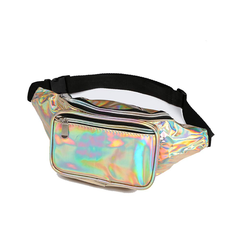 Waist Bag Women & Men Holographic Fanny Pack Bum Bag Adjustable Belt.(Light Gold)