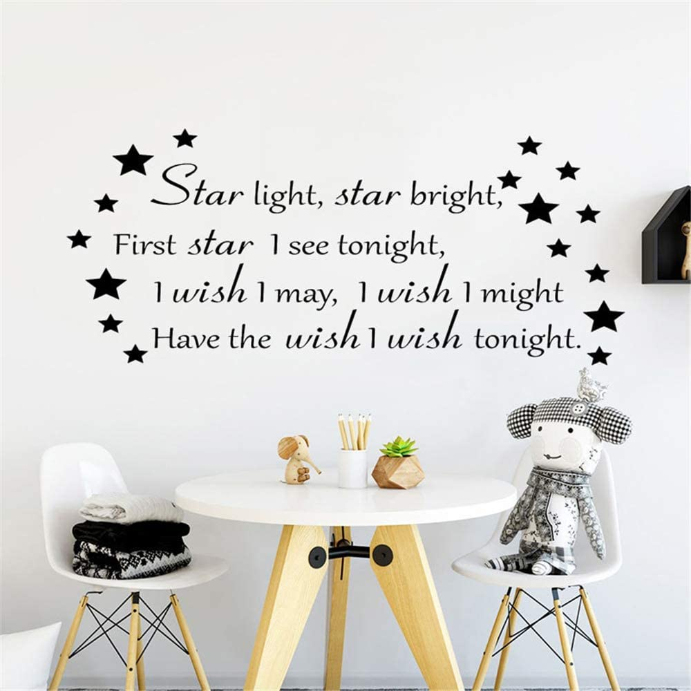 Amazon Com Pabear Wall Decal Sticker Art Mural Home Decor Quote Kids Boys Girls Bedroom Decoration Quotes Star Light Star Bright Nursery Room Decor Home Kitchen