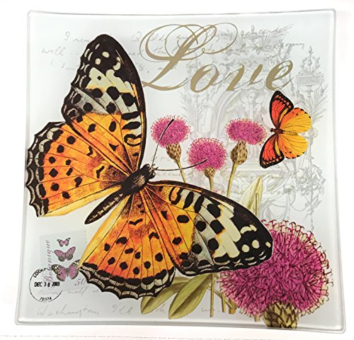 Value Arts Butterfly Flowers Love Glass Decor Dish, 5.75 Inches Square