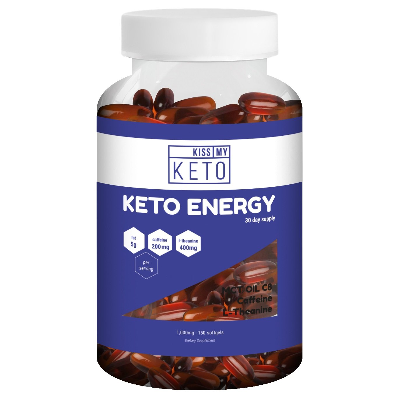 Kiss My Keto Energy Capsules - L Theanine 400mg, C8 MCT Oil Softgels 5000mg, Caffeine 200mg, 150 Count, Increase Energy, Mental Focus, Mood, Alertness. MCT's On The Go. Easy to Digest. 30 Day Supply