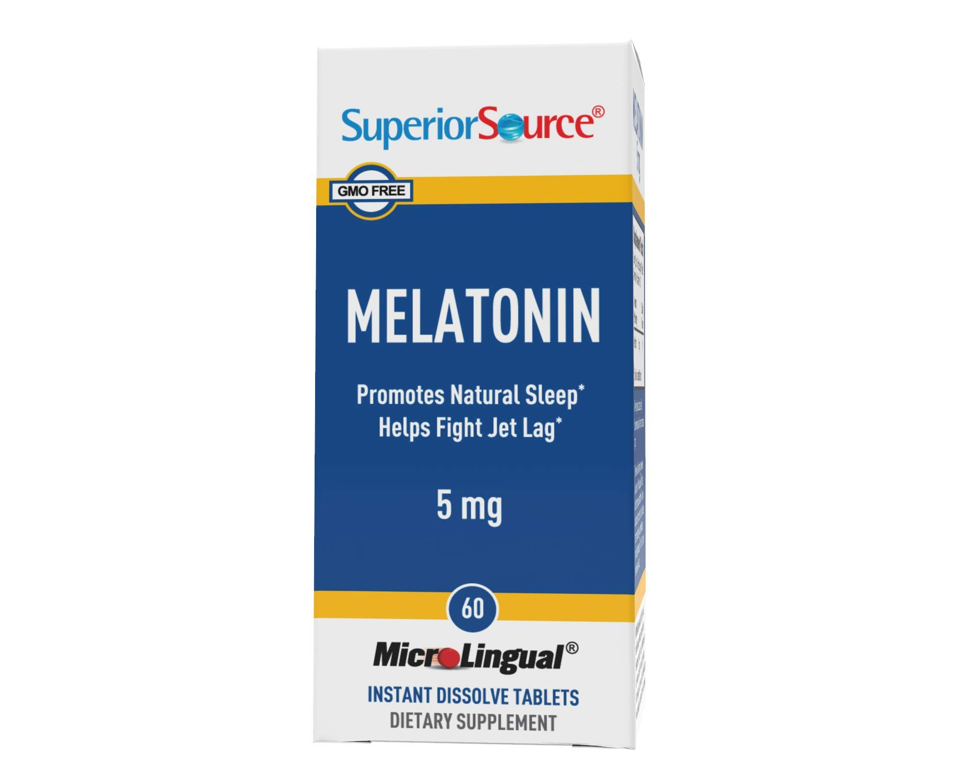 Superior Source Melatonin 5 mg Under The Tongue Quick Dissolve Sublingual Tablets, 60 Count, with Chamomile, Non-Addictive Sleep Aid, Sublingual Melatonin, Natural Sleeping Pills for Adults, Non-GMO